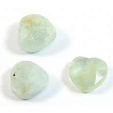 1 Aquamarine Faceted Heart Bead