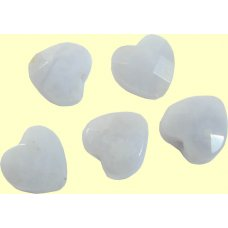 2 Blue Lace Agate 8mm Faceted Hearts