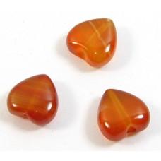 10 Carnelian 8mm Puffed Heart Beads