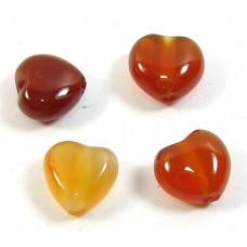 10 Carnelian 6mm Puffed Heart Beads