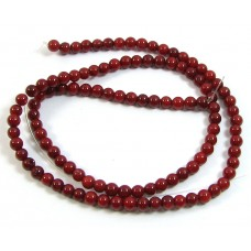 1 Strand Red Coral 4mm Round Beads
