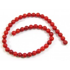 1 Short Strand Red Coral 6mm Round Beads