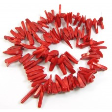 1 Strand Red Coral Long Chip Beads
