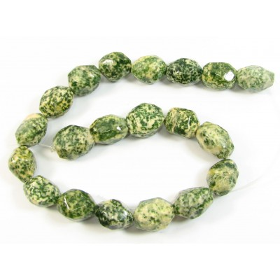 1 Strand Green/Lemon Tree Jasper Faceted Nugget Beads
