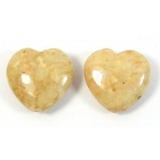 2 Dyed Peach Jasper 12mm Heart Beads