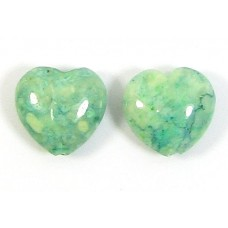 2 Dyed Sea Green Jasper 12mm Heart Beads