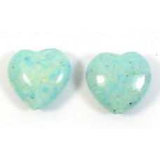 2 Dyed Ocean Blue  Jasper 12mm Heart Beads