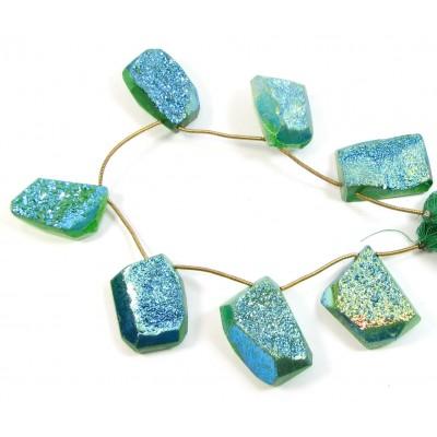1 Short Strand Green Colour Drusy Quartz Beads