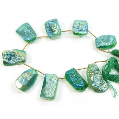 1 Short Strand Green Colour Druzy Quartz Beads