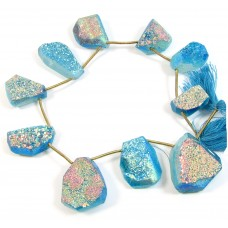 1 Short Strand Turquoise Colour Druzy Quartz Beads