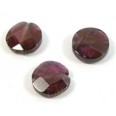 2 Garnet Faceted Coin Beads
