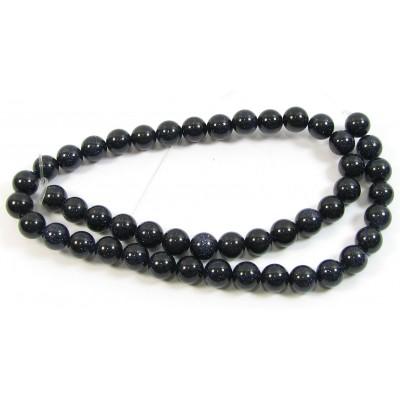 1 Strand Blue Goldstone 6mm Round Beads