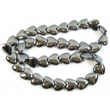 1 Strand Hematite 12mm Puffed Heart Beads