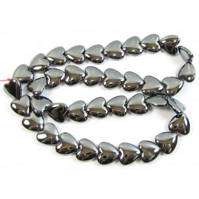 1 Strand Hematite 12mm Puffed Heart Beads