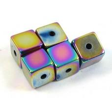 10 Multicolour Magnetic Hematite Cube Beads