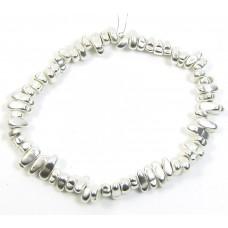 1 Strand Matt Silver Plated Hematite Nugget Beads