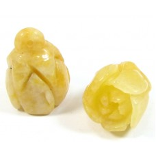 1 Carved Yellow Jade Rosebud Pendant