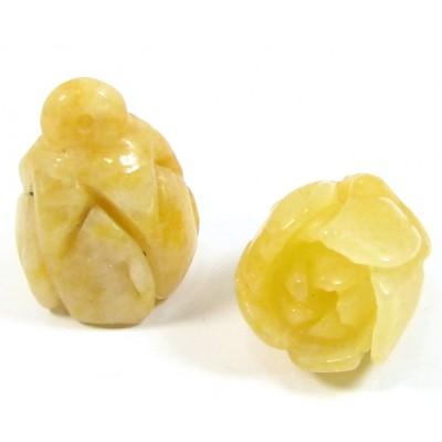 1 Carved Yellow Jade Rosebud Pendant