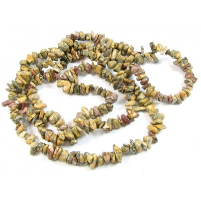 1 Strand Leopardskin Jasper Chip Beads