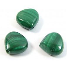 10 Malachite Puffed Heart Beads