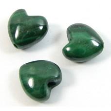 10 Malachite 6mm Puffed Heart Beads