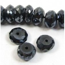 10 Irradiated Black Spinel Faceted Rondelle Beads