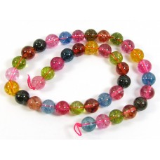 1 Strand Dyed Crackled Rock Crystal Multi Coloured 10mm Round Beads