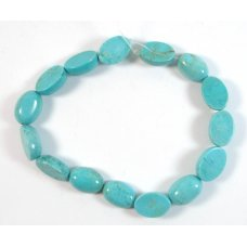 1 Short Strand Dyed Turquoise Howlite Flat Oval Beads