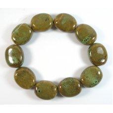 10 Chunky Ceramic Pebble Beads in Green Verdigris Speckles