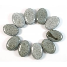 10 Chunky Organic Ceramic Large 30mm Pebble Beads with Grey Speckles