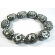 10 Chunky Organic Ceramic Large 30mm Pebble Beads in Black White Speckles