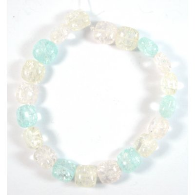 1 Strand Pink Blue Crackle Quartz Puffed Square Beads