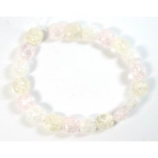1 Strand Pink Yellow Clear  Crackle Quartz Puffed Square Beads