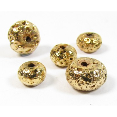 20 Gold Plated Volcanic Lava 6mm Rondelle beads