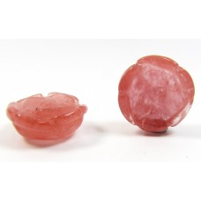 Pair Strawberry Quartz Flower Beads