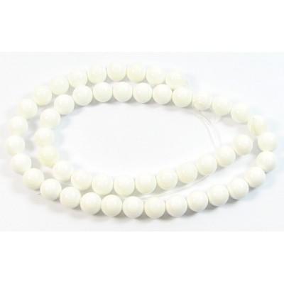 1 Strand 6mm White Round Shell Beads