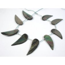 1 Strand of Black Silver Mother of Pearl Wing Shape Beads