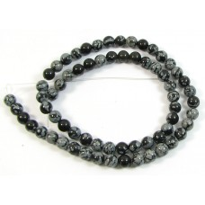 1 Strand Snowflake Obsidian 4mm Round Beads