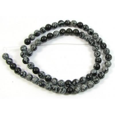 1 Strand Snowflake Obsidian 6mm Round Beads