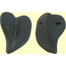 2 Matt Black Obsidian Leaf Beads