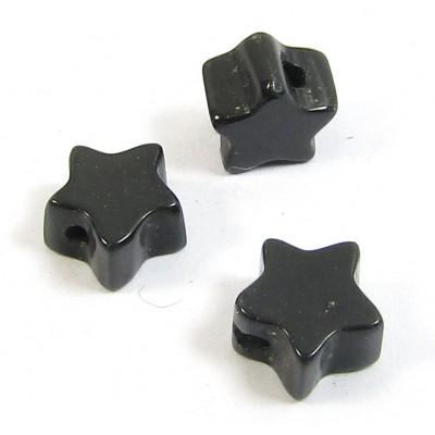 10 Black Onyx 6mm Star Beads
