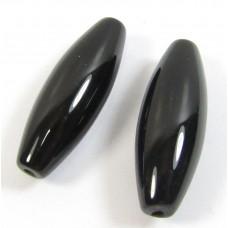 2 Black Onyx Oval Beads