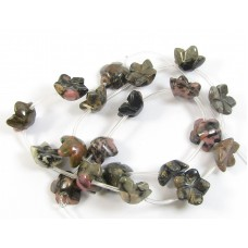 1 Strand Rhodonite Carved Flower Beads