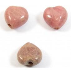 10 Rhodonite Puffed Heart Beads