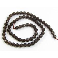 1 Strand Smoky Quartz Faceted 6mm Round Beads