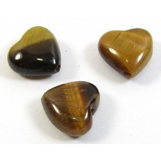10 6mm Tigers Eye Puffed Heart Beads