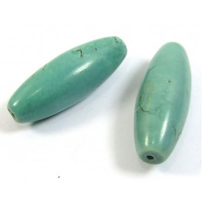 2 Stabilised Turquoise Long Barrel Beads