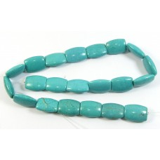 1 Strand Stabilised Turquoise Puffed Semi-Oblong Beads