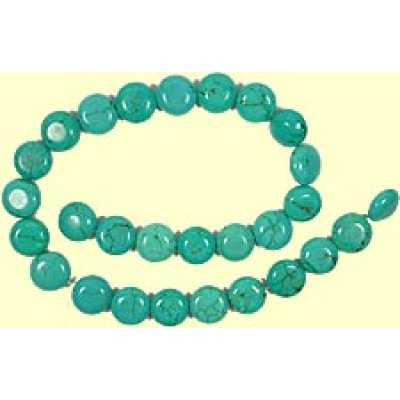 1 Short Strand Stabilised Turquoise Button Beads