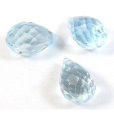1 AA Faceted Swiss Blue Topaz Micro Faceted Top Drilled Briolette